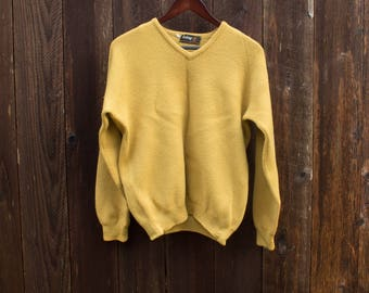 Vintage Mustard Yellow WOOL Sweater - Wolsey Vneck Top - 1960s - 1970s