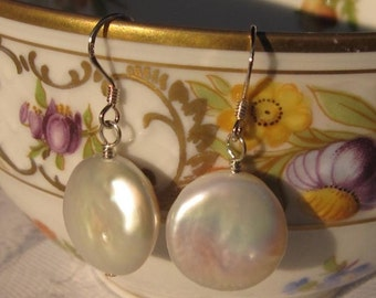 fatdog Earrings - ECP103 Freshwater Coin Pearl Large Creamy White