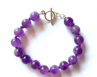 Amethyst 10mm Bead Silk Knotted Bracelet with Sterling Silver Toggle Clasp