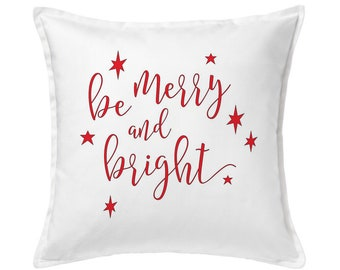 Red Christmas Pillow, Merry and Bright Pillow, Christmas Decoration, Christmas Gift, Christmas Outdoor, Holiday Pillow, Winter Pillow