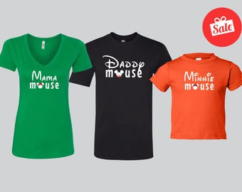 Matching Disney Family Shirts. Mama Mouse. Daddy Mouse. Minnie Mouse. Disney Trip.