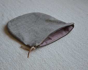 Makeup bag grey purse earthy naturally dyed wallet zip pouch eco sustainable cotton minimalist style gift ideas stocking filler zip his hers