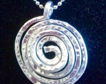 "Upcycled aluminum wire Spiral Pendant 24"" aluminum ball chain"