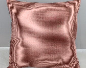 Pillow Cover Waverly Red and Off White Checks Country Red