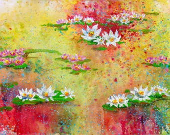 16x20 ABSTRACT PAINTING | Lilies | Original Artwork | Acrylic painting on watercolor paper | Gift painting | Modern  | Wall Décor