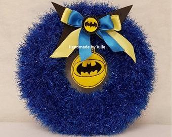 Knitted Tinsel Wreath Batman