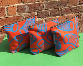 SMALL Screen Printed Handmade in England Wash Bag Zip Pouch Abstract Design Orange and Blue
