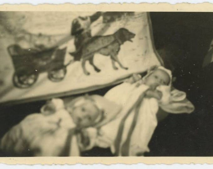 Vintage Snapshot Photo: Twin Babies, Dog & Cart Blanket, Abstract 1947  (74565)