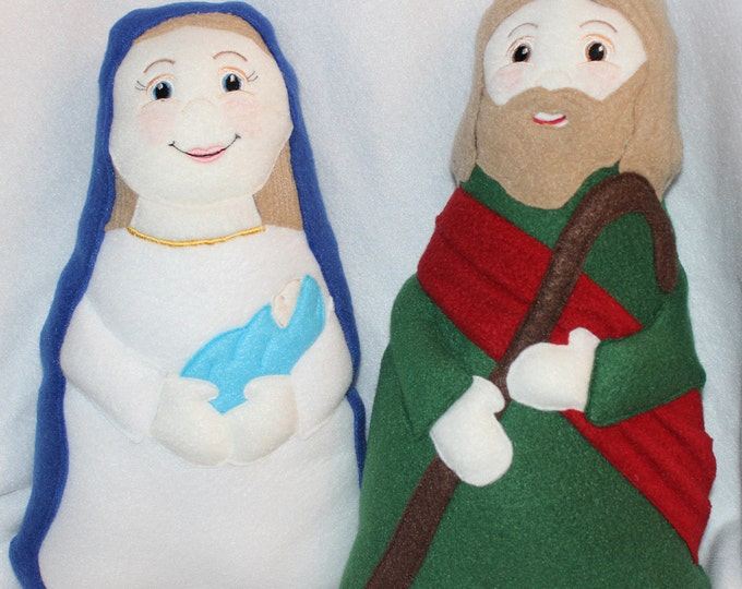 Holy Family Soft Saint Doll Set, Set of 2, Mary with Baby Jesus and St Joseph, Nativity Dolls, Jesuse, Mary, Joseph, Christmas Story Dolls.