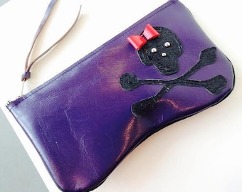 Leather Makeup Bag with Skull and Crossbones- Ready to Ship
