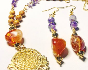 Yoga inspired with citrine and amethyst