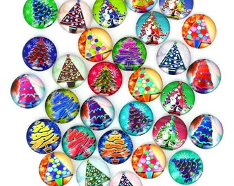 Set of 30 cabochons 18mm glass Christmas trees, ZC88