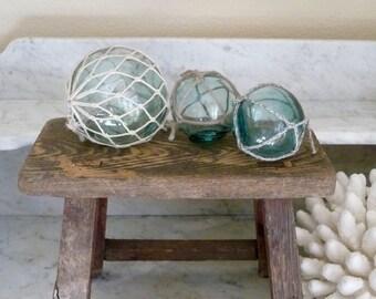 Vintage Glass Floats, Set of 3 Fishing Floats, Japanese Glass Floats,  Beach Decor, Blue Green Coastal Decor, Nautical Decor