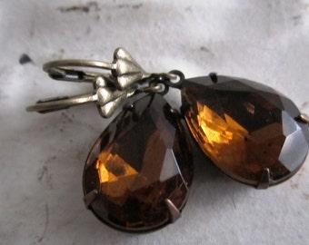 Brown Earrings Chestnut Brown Rhinestone Earrings Vintage Smoke Topaz Earrings Cognac Jeweled Earrings Perfect For Fall November Birthstone