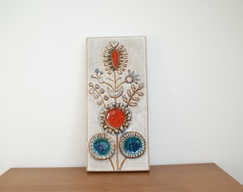 Large Wallhanging relief from Danish pottery Soholm ( Søholm ), Bornholm,  model 3553, Denmark. Mid century pottery.