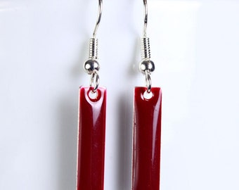 Cranberry epoxy drop surgical steel hypoallergenic earrings (254)