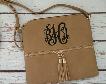 Personalized Monogrammed Vegan Leather Crossbody Purse with Tassel and FREE Monogram Multiple Colors Gray Black Brown Pink Monogram Purse
