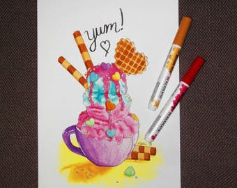 A4 icecream sundae painting