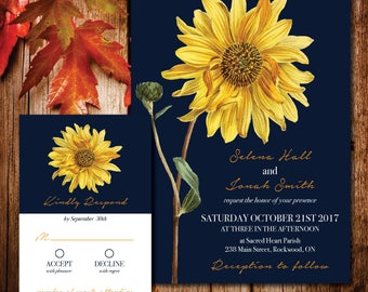 Sunflower Autumn Wedding Invitation Set