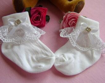 Beautiful White Christening/Wedding socks - Lace, Rhinestones. 3 sizes