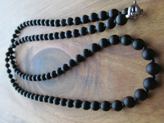 Mens Matte Onyx Beaded Necklace 6mm Mens Necklace