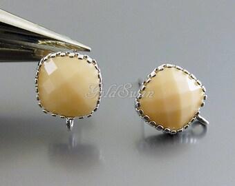 2 pcs / 1 pair pretty peach pastel color glass stone earrings, for brides, bridesmaids, mom gifts 5155R-PC peaches n cream