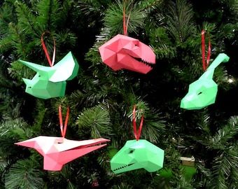 Dinosaur Christmas Ornaments Pattern - Make Your Own Paper Ornaments this Christmas! | Christmas Tree Ornaments | Dinosaur Ornaments