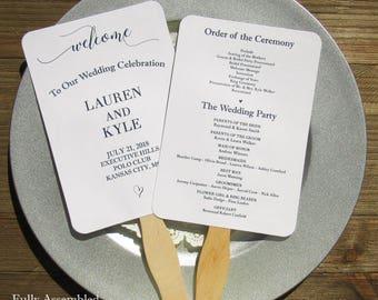 Wedding Program Fans - Wedding Program - Wedding Fans - Wedding Ceremony Fan - Program Fans - Wedding Hand Fans - Fans