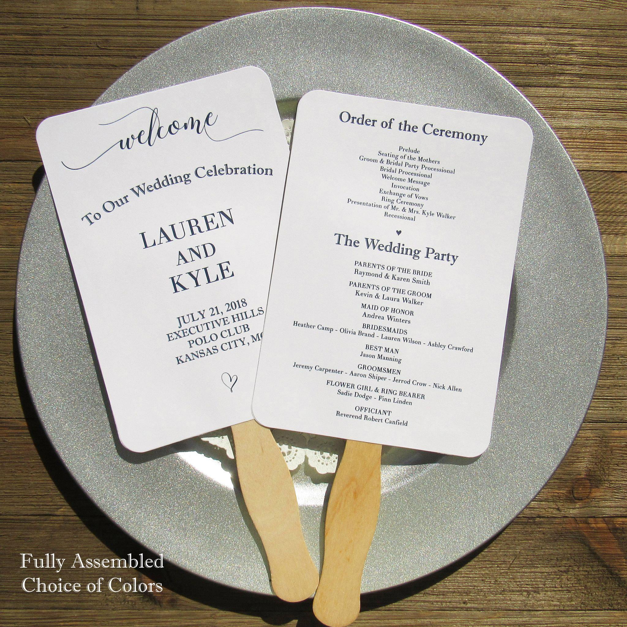 Wedding Program Fans Wedding Program Wedding Fans