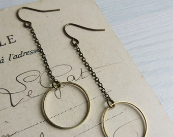 Modern Hoop Earrings on Chains - brass hoops on chain - minimalist jewellery - nickel free