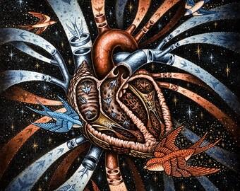 Anatomical Heart Art, Heart Print, Sparrows, Original, Goth, Gothic, Radiant, Spirit, Life, Death, Arteries, Veins, Flight, Birds, Stars