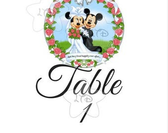 Mickey and Minnie Happily Ever After Wedding Table Numbers Set of 10