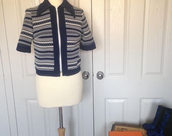 True Vintage C&A Blue and White Pattern Cardigan Northern Soul Tank