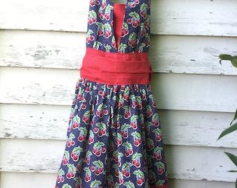 Size 8 Girls Cherry Dress, Halter Dress, Pin Up Dress, Vintage Dress, Girls Dress, Summer Dress, Cherries, Polka Dots