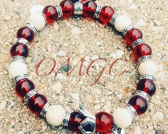 Fraternity Inspired Beaded Charm Bracelet: Kappa Alpha Psi
