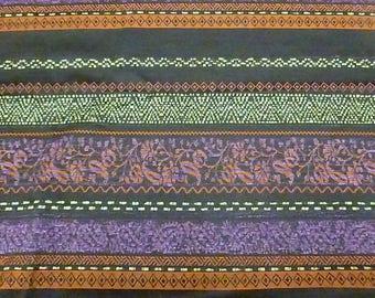 fabric stripe Terry plum / Green
