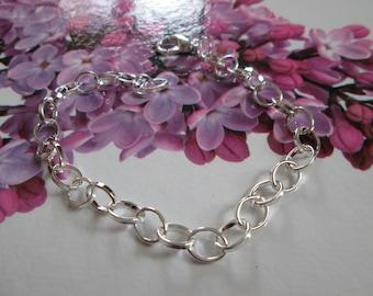 Silver bracelet 20 cm mesh oval clasp closure