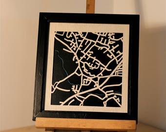 wooden map of Wymondham, Norfolk