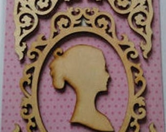 Vintage Wooden Silhouette  card making scrap booking crafts Lady flat back