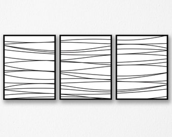 Abstract Art Set, Abstract Line Art, Wall Art, Abstract Art, Printable Wall Art, Waves, Black and White Art Set, Set of 3, INSTANT DOWNLOAD