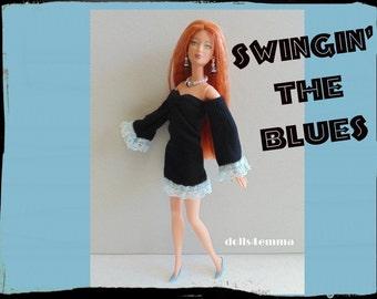 SALE = Barbie Doll Clothes - Retro DRESS and JEWELRY - Handmade Fashion by dolls4emma