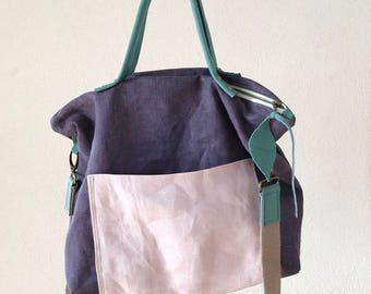 European Linen Tote in Purple and Lavender Colour - Messenger Bag - Zippered Linen Tote - Crossbody Bag - Diaper Bag - Leather Handles Bag