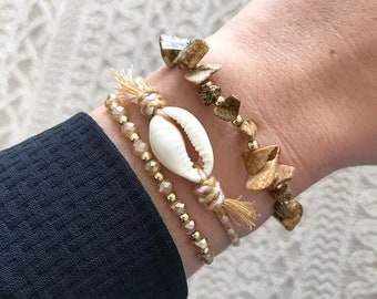 Pearls and shell bracelets