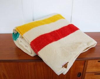 Vintage Faribault Woolen Mill Co. Multi-Colored Striped Twin Size Wool Blanket