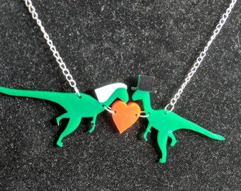 Custom made dinosaur wedding necklace