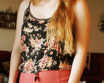 Floral Draw String Top