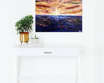 Original Abstract Oil Painting, Abstract Sunset Seascape, Colorful Oil Painting, Textured Canvas Painting, Abstract Ocean Art, Coastal Art