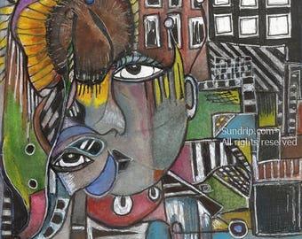 Original Surreal Art Watchful Eye Urban Dreamscape Sunflower Town Elephant Mental Maze