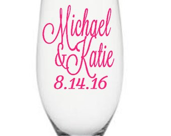 Bride and Groom Champagne Flute Decals, Custom Wedding Champagne Flute Decals,Glass NOT Included