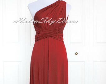 Convertible Dress ,Burgundy Bridesmaid dress Infinity Dress, short Prom dress